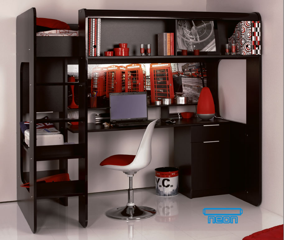 lit mezzanine bureau ado. Black Bedroom Furniture Sets. Home Design Ideas