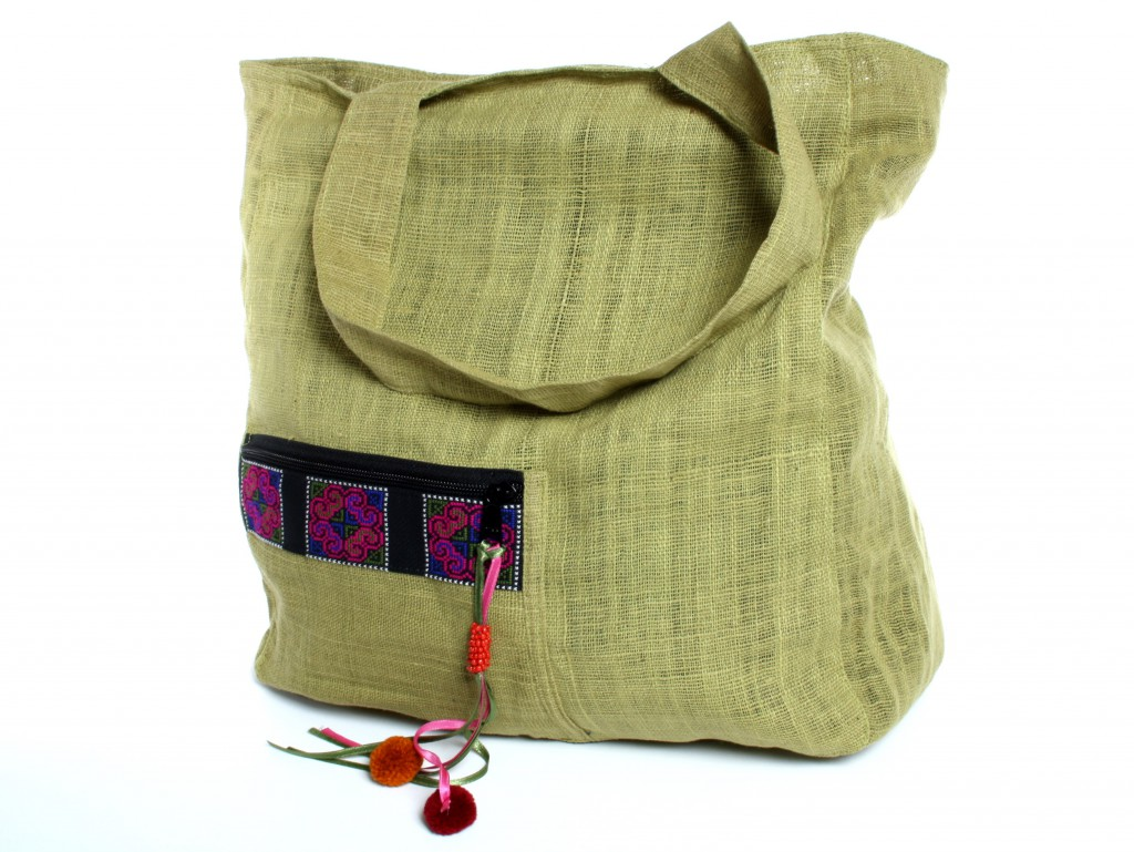 Sac de shopping Hmong vert naturel